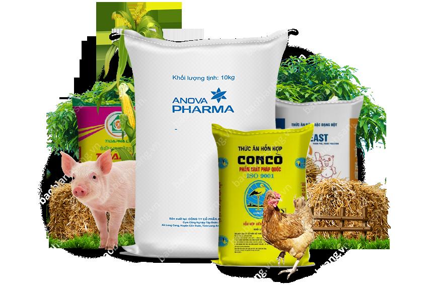 Các sản phẩm bao bì thức ăn gia súc của Bao Bì Ánh Sáng đang sản xuất