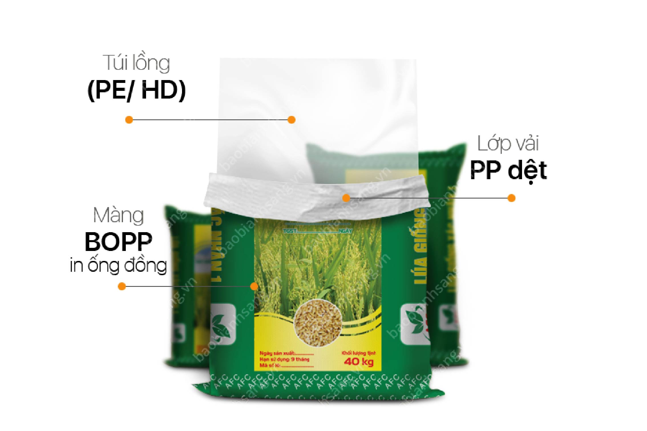 Mẫu bao bì thức ăn chăn nuôi ghép màng BOPP in ống đồng - bao bì thức ăn chăn nuôi