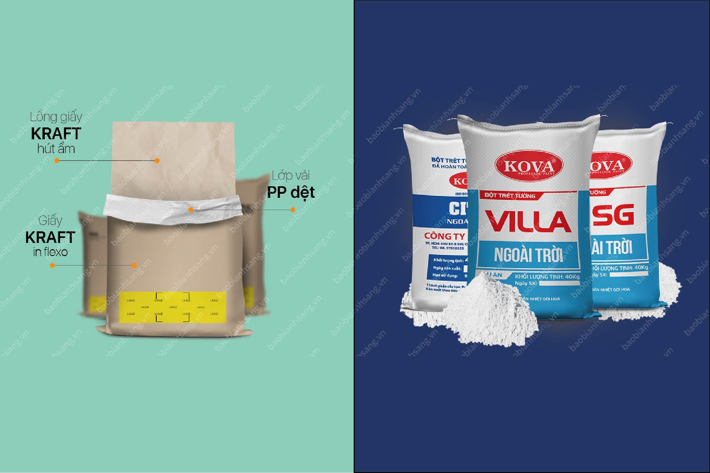 Bao bì giấy Kraft ghép nhựa PP đựng bột trét tường - bao bì giấy ngành bột trét tường