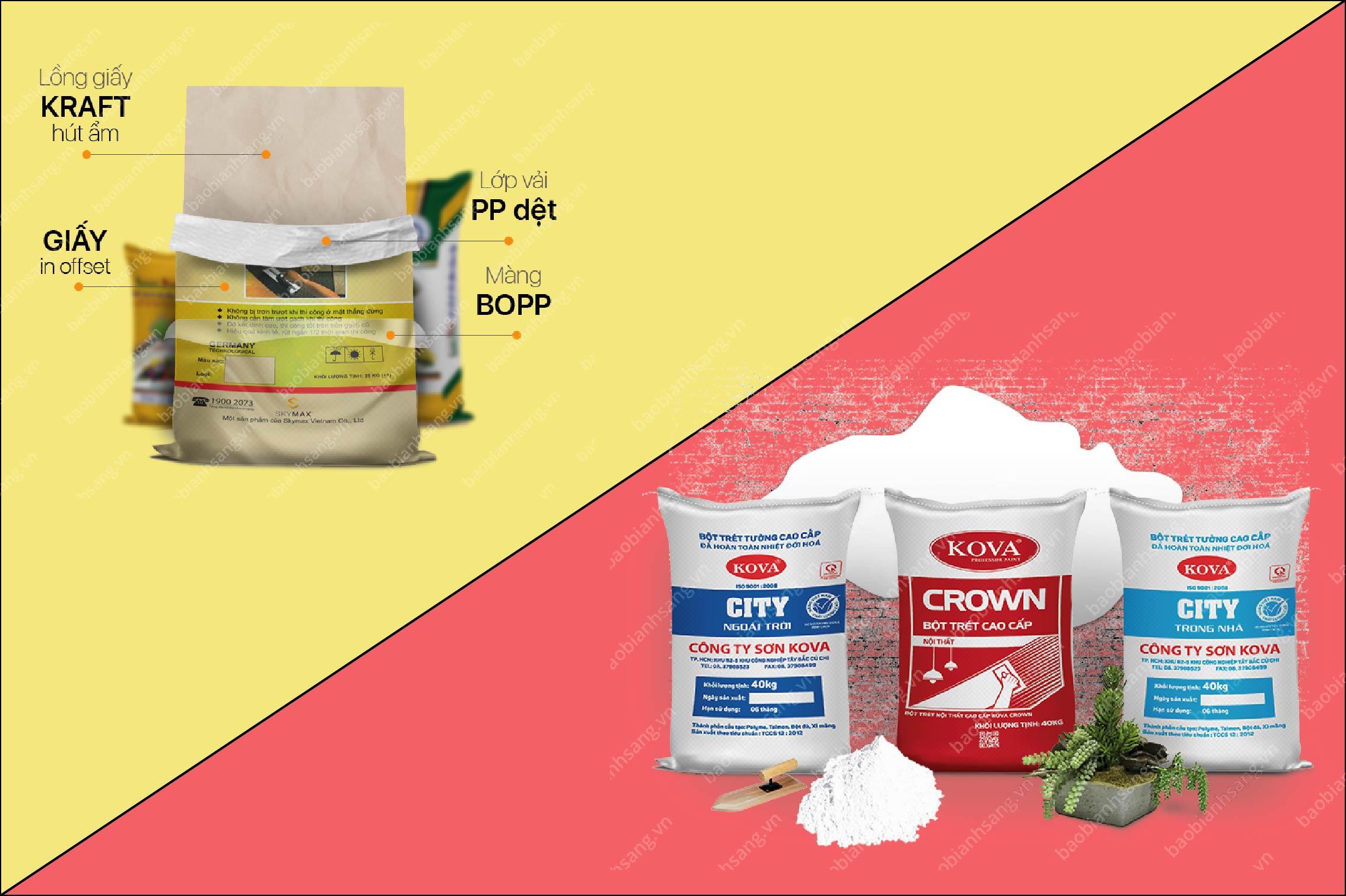 Bao bì giấy in offset ghép nhựa PP đựng bột trét tường - bao bì giấy ngành bột trét tường