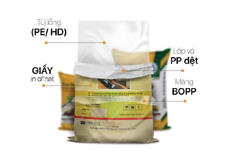 Bao bì nhựa PP ghép giấy in offset ngành xây dựng
