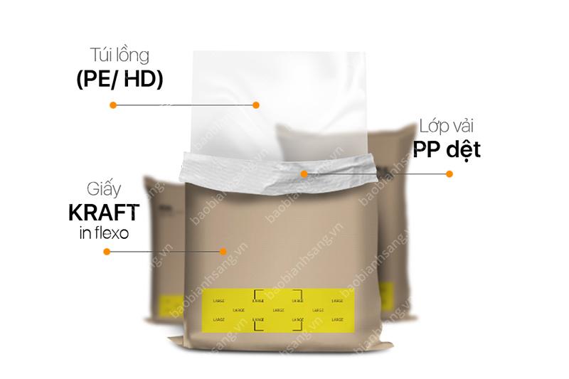 Cấu trúc bao bì nhựa PP ghép giấy kraft - bao bì nhựa ngành hóa chất