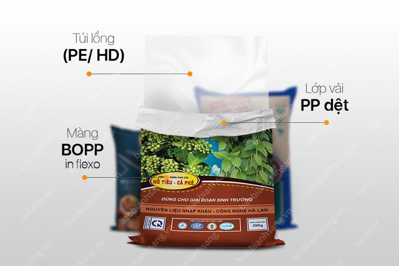 nhà máy sản xuất bao bì pe - Túi PE lồng vào bao nhựa PP để đựng phân bón
