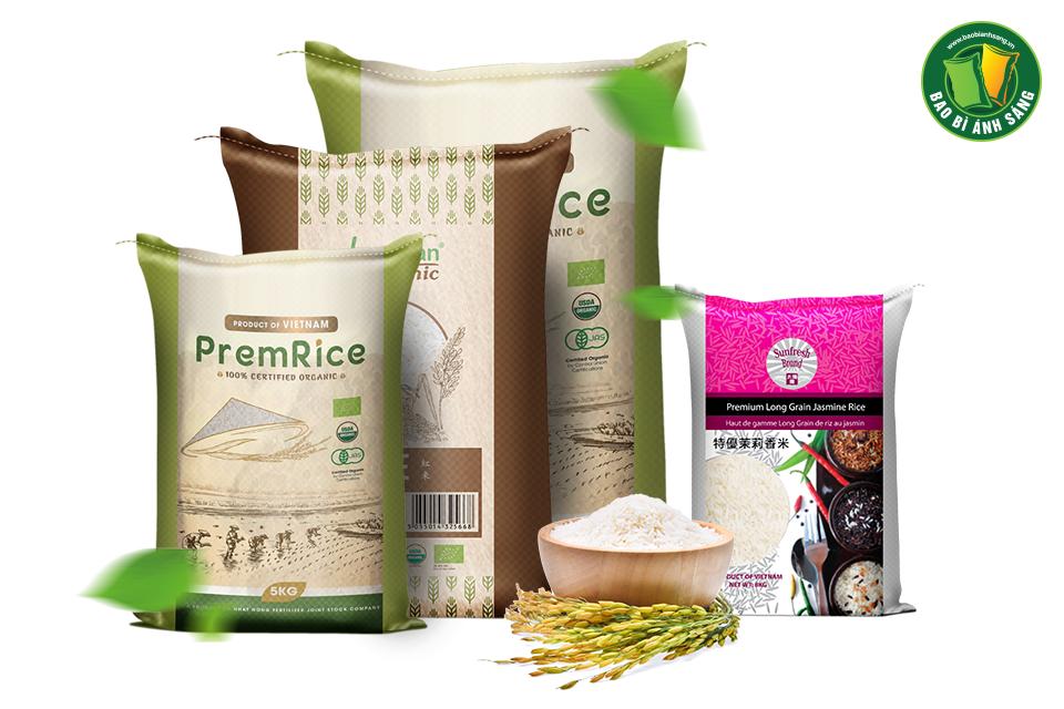Thiết kế bao bì gạo của Bao Bì Ánh Sáng luôn thể hiện đẳng cấp thương hiệu
