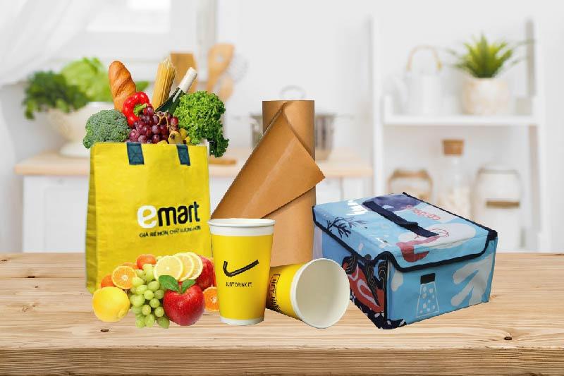 Các sản phẩm phụ trợ như: giấy kraft tráng PE, túi giữ nhiệt, túi vải PP dệt - công ty bao bì tp hồ chí minh