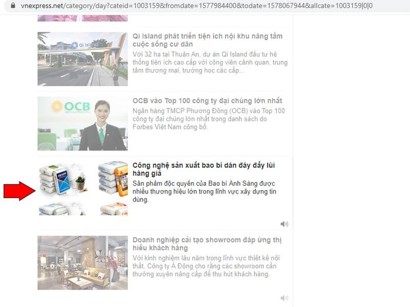 Bài viết về Bao Bì Ánh Sáng trên mục Doanh nghiệp của báo vnexpress