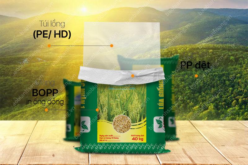 Bao BOPP in ống đồng đựng lúa - in bao bì lúa giống đẹp