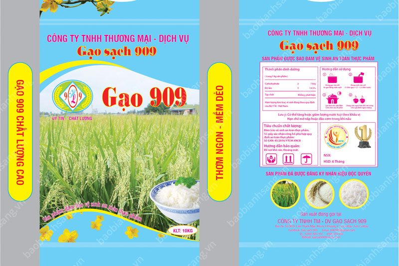 Bao gạo của Bao Bì Ánh Sáng có thông tin rõ ràng - thiết kế bao bì gạo