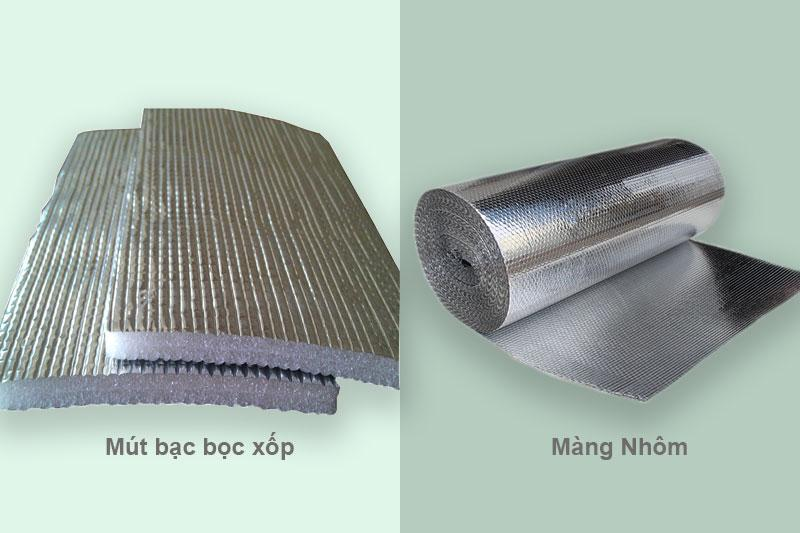 Mút bạc bọc xốp và màng nhôm là hai chất liệu giữ nhiệt phổ biến