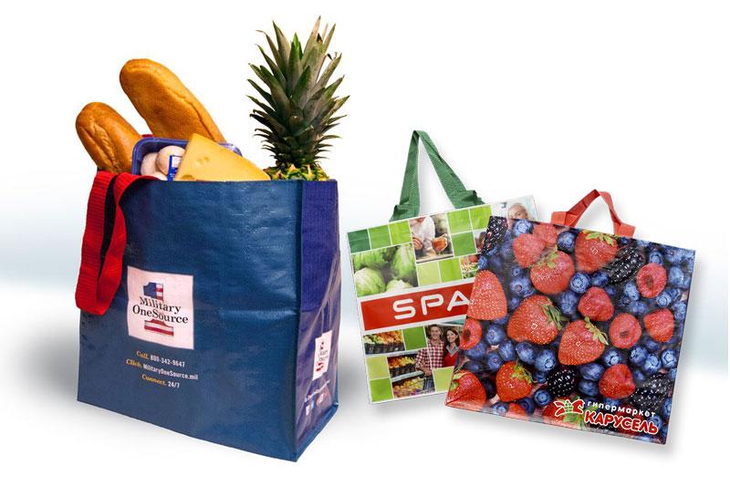 Túi PP thiết kế 2 quai xách, đựng thực phẩm an toàn, chắc chắn - nhận may gia công túi xách siêu thị