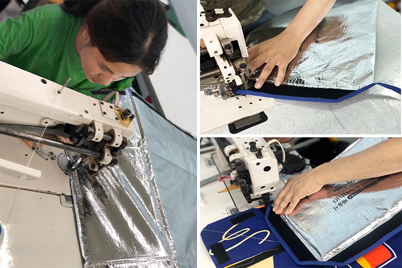 Công đoạn cắt may túi giữ nhiệt - quy trình sản xuất túi giữ nhiệt