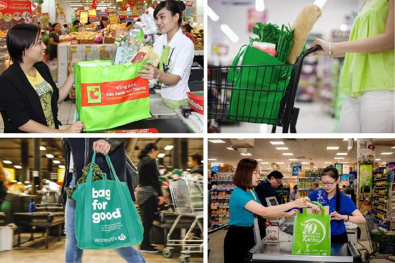 Người dân sử dụng túi vải PP dệt trên thị trường