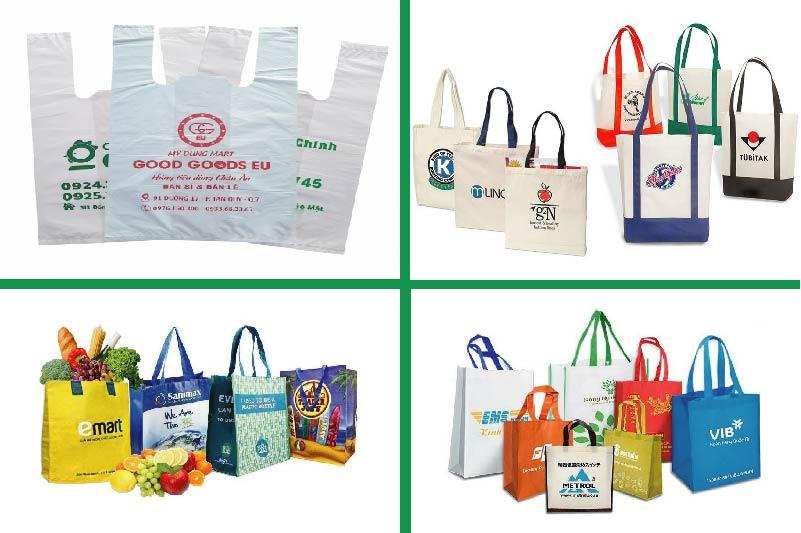 Các loại túi siêu thị phổ biến hiện nay - may túi xách siêu thị